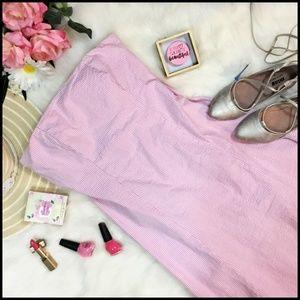 GAP Strapless Pink and White Seersucker Dress